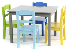 Tot Tutors Kids Wood Table & 4 Chairs Set, Elements - Grey/Multi
