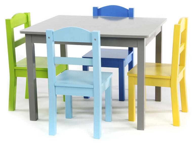 Table en bois avec quatre chaises Elements - gris