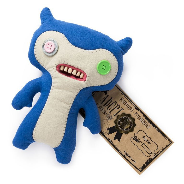 """Fuggler - Funny Ugly Monster, 12"""" Lil' Demon (Blue) Deluxe Plush Creature with Teeth"""
