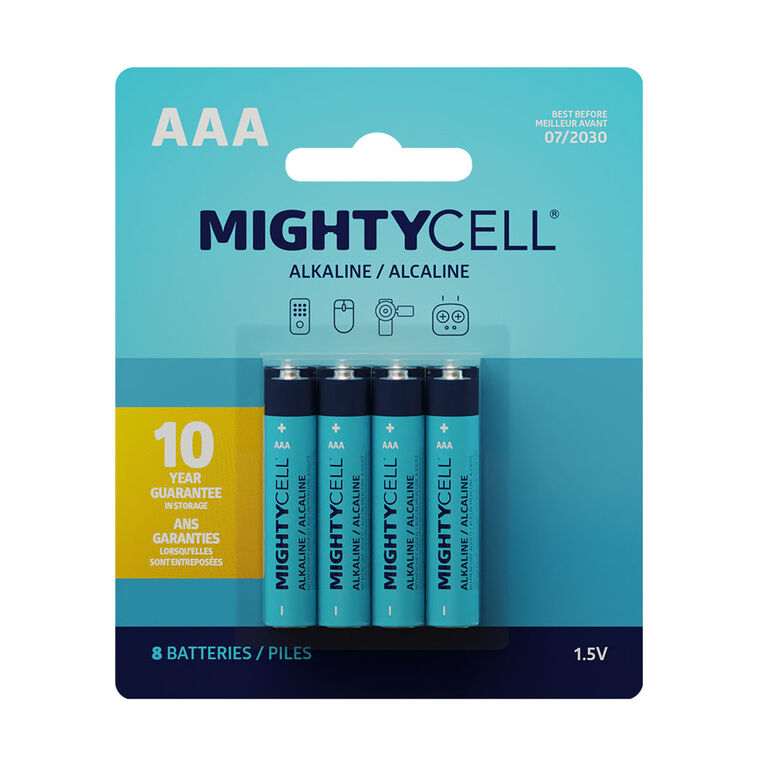 MightyCell 8 Pack AAA Alkaline Batteries
