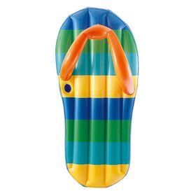 Blue Wave - Flotteur gonflable de 1,8 m (71 po) en forme de sandale de plage à bandes colorées