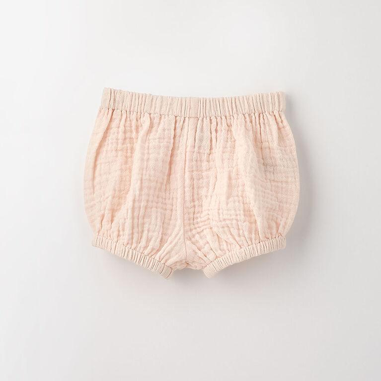 12-18m short élastique en tissu froissé - perle