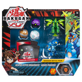 Bakugan, Battle Pack 5-Pack, Ventus Hyper Dragonoid and Aquos Pandoxx, Collectible Cards and Figures