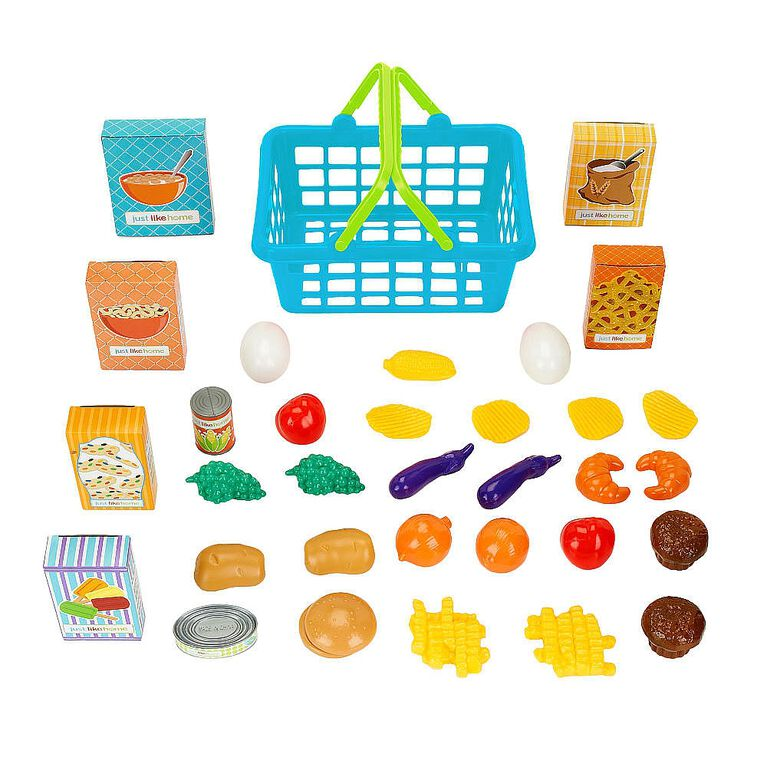 Just Like Home - 35 Piece Shopping Basket - Blue
