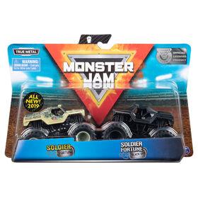 Monster Jam, Official Soldier Fortune vs. Soldier Fortune Black Ops Die-Cast Monster Trucks, 1:64 Scale, 2 Pack
