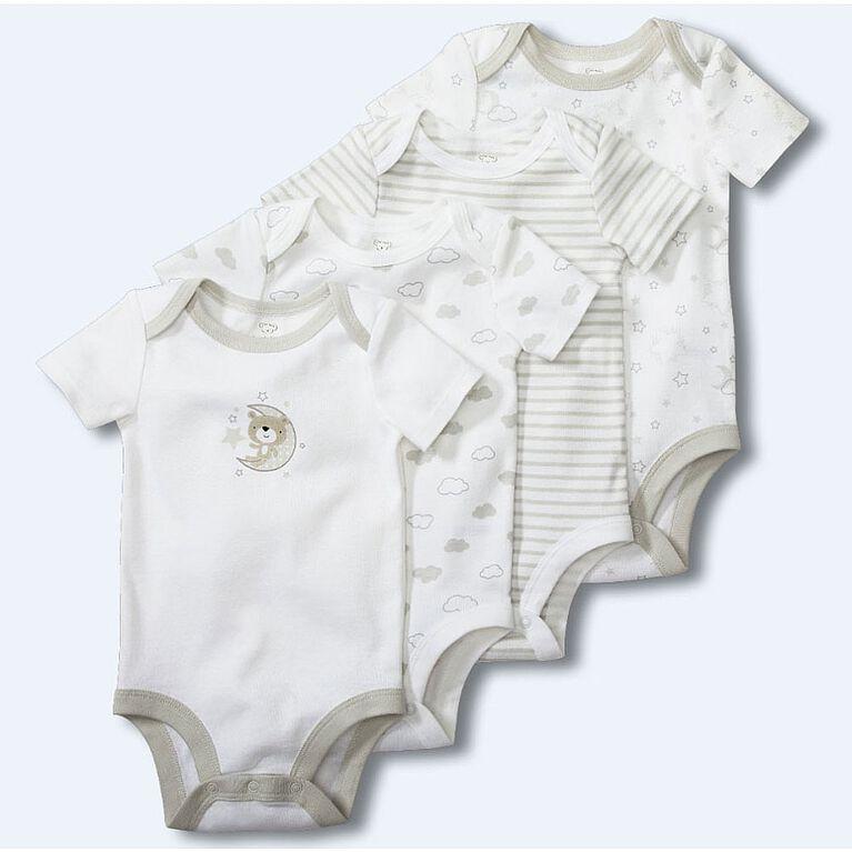Koala Baby 4-Pack Bodysuits - Grey/White, 9-12 Months