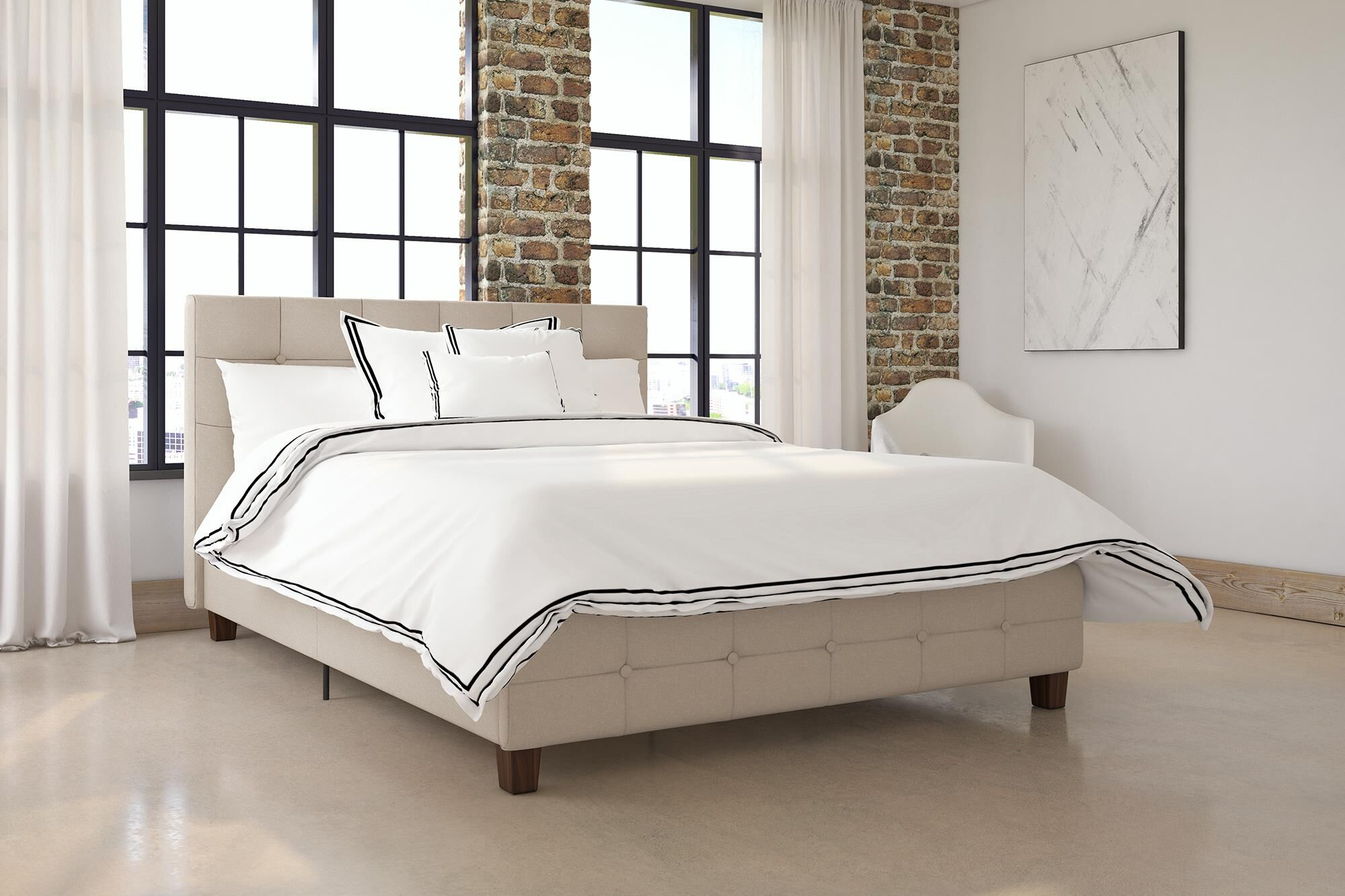 Tan Full Dhp 4028309 Rose Upholstered Bed Home Beds Frames Bases