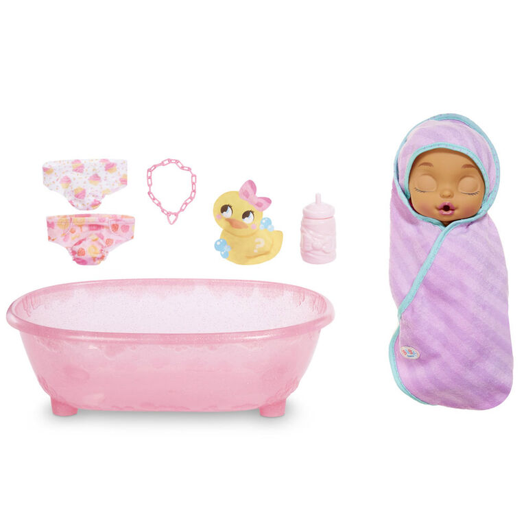 Baby Born Surprise Bathtub Surprise Purple Swaddle Kitty Ears