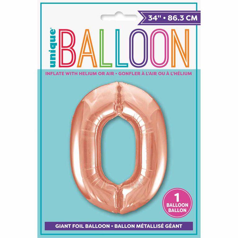 """Ballon en aluminium en forme de nombre en or rose 34"""" - 0"""