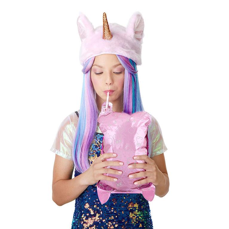 Poupée-mannequin Na! Na! Na! Surprise 2 en 1 et pompon pelucheux avec déballage de confettis dans un ballon - Les couleurs et les motifs peuvent varier - une poupée par commande