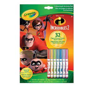 Crayola - Bloc à colorier et d'activités, The Incredibles 2.