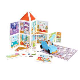 Melissa & Doug Magnetivity Magnetic Tiles Building Play Set - Notre maison avec véhicule