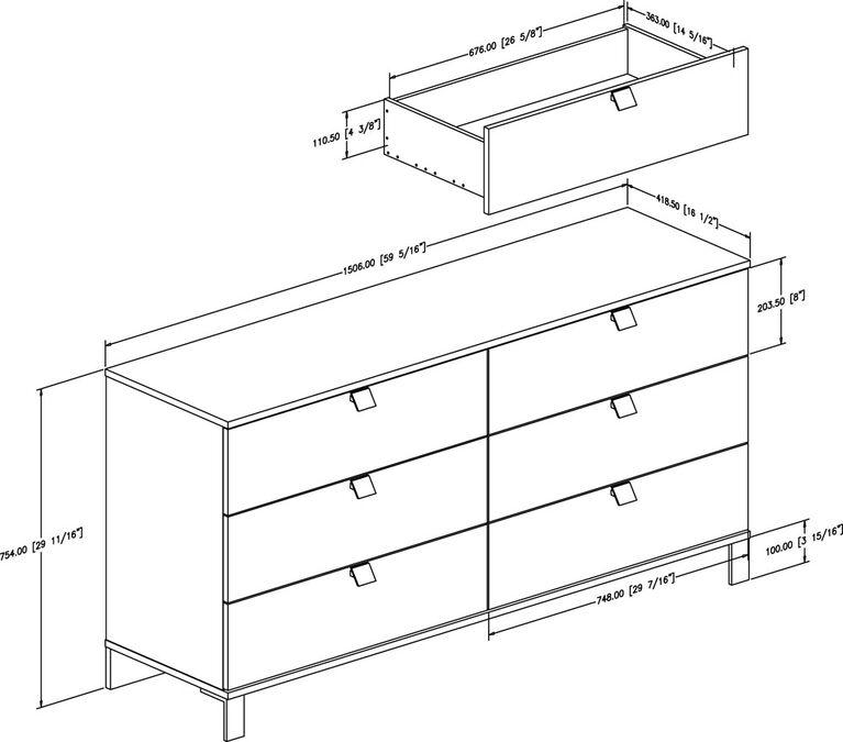 Spark 6-Drawer Double Dresser- Chocolate