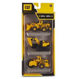 Cat Metal 3 Pack Front Loader, Excavator, Steam Roller