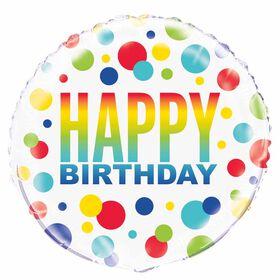 """Ballon aluminium rond, 18 """" - Rainbow Spots Birthday - Édition anglaise"""