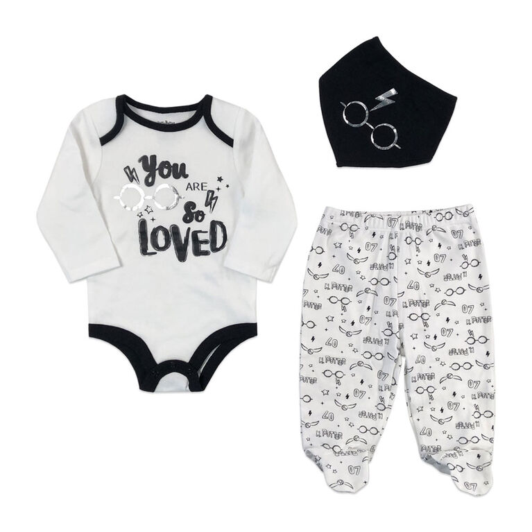 Harry Potter 3 Piece Layette Set - Black, 3 Months.