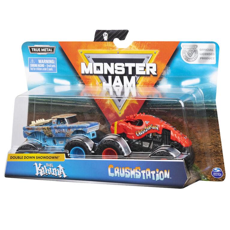 Monster Jam, Coffret de 2 véhicules authentiques Big Kahuna vs Crushstation, Monster trucks en métal moulé à l'échelle 1:64