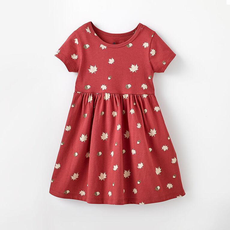 4-5 ans robe à manches courtes - imprimé rouge