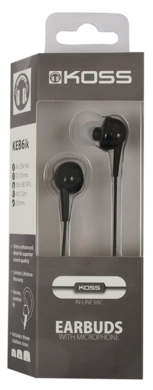 Koss Earbud KEB6 in Ear w/Enhanced Driver & Mic Black