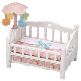 """Calico Critters Crib with Mobile, Dollhouse Furniture Set with """"Working"""" Features"""