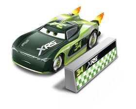 "Disney/Pixar Cars XRS Rocket Racing Steve ""Slick"" LaPage with Blast Wall"