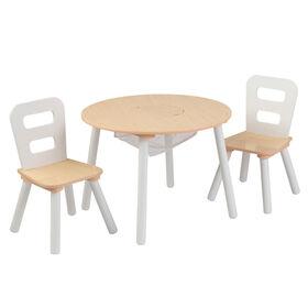 Round Storage Table & 2 Chair Set - Natural & White