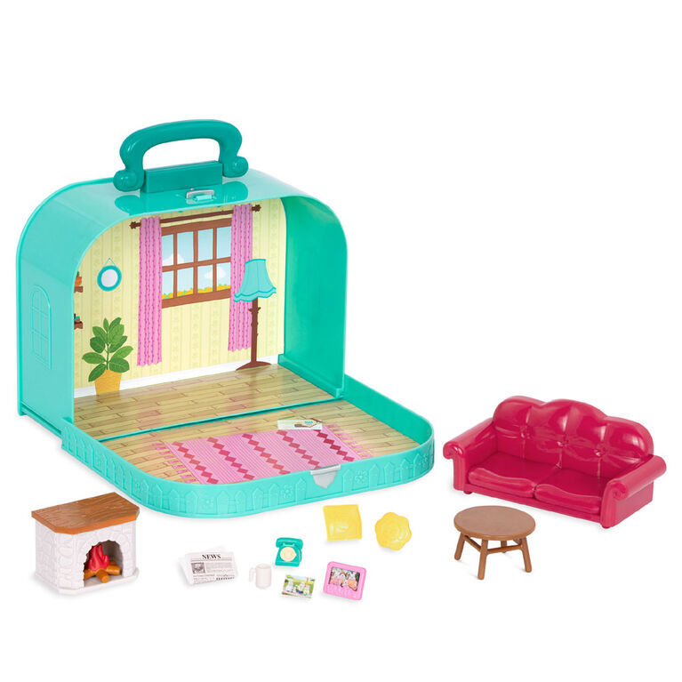 Li'l Woodzeez, Travel Suitcase Living Room Playset in Carry Case