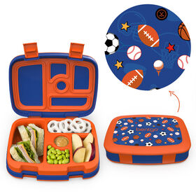 Bentgo Kids Prints Leak-Proof, 5-Compartment Bento-Style Kids Lunch Box - 7 - BPA-Free and Food-Safe Materials - 2020 Collection - Sports - English Edition