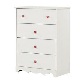 Lily Rose 4-Drawer Chest Dresser- White Wash