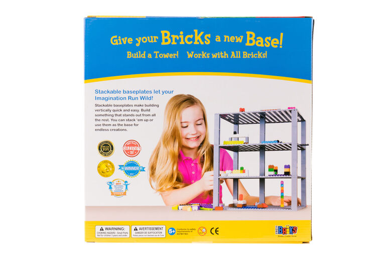 "Strictly Briks - Brik Tower - 10"" x 10"" - 32 x 32 pegs - 4 Baseplates & 30 Stackers - Green"