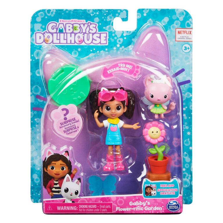 DreamWorks, Gabby's Dollhouse, Coffret Flower-rific Garden avec 2 figurines jouets, 2 accessoires, boîte surprise et meuble