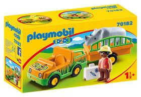 Playmobil 1.2.3. Zoo Vehicle With Rhino 70182