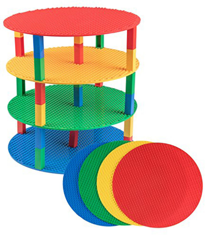 "Strictly Briks - Brik Tower - 12"" Circle - 4 Baseplates & 30 Stackers - Blue, Green, Red, Yellow"