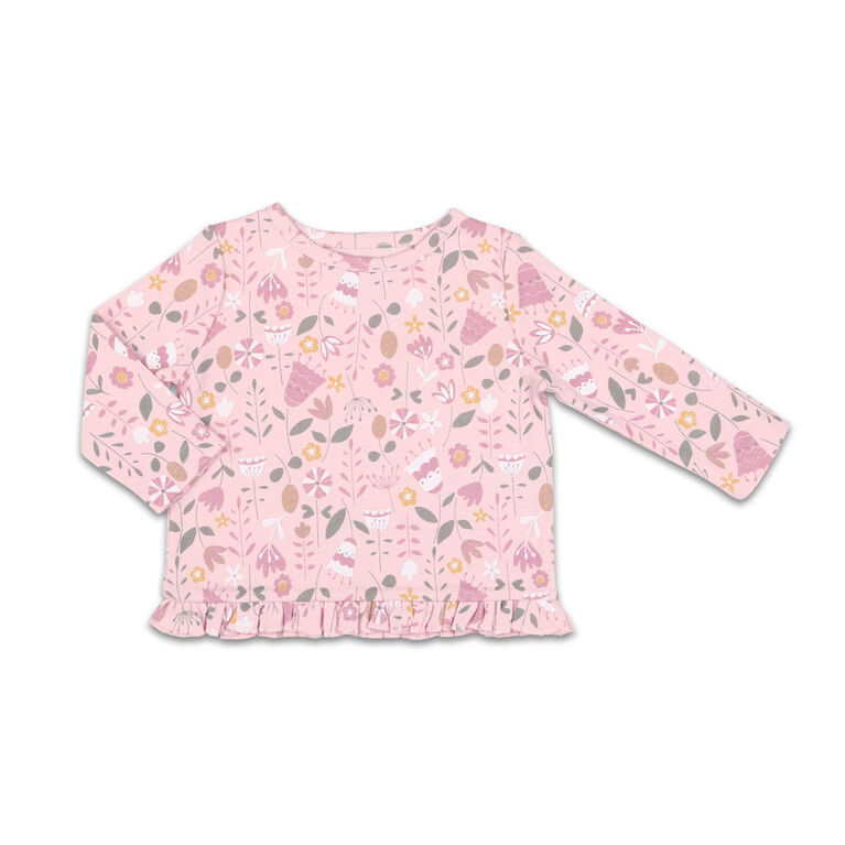 The Peanutshell Baby Girl Layette Mix & Match Wildflower Ruffle Bottom Long Sleeve Shirt - 3-6 Months
