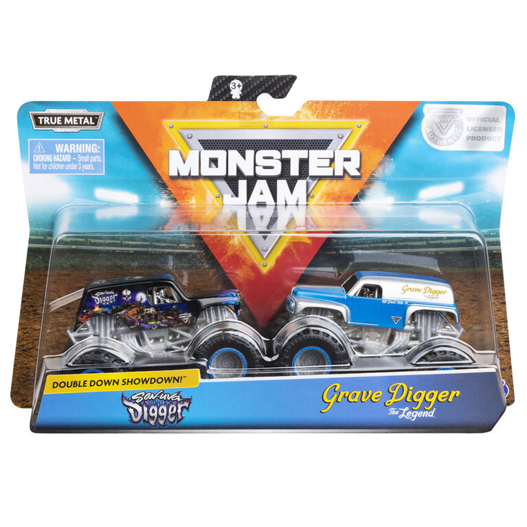 Monster Jam, Official Son-uva Digger vs. Grave Digger Die-Cast Monster Trucks, 1:64 Scale, 2 Pack
