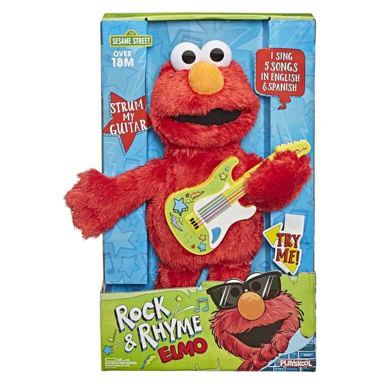 Sesame Street Rock and Rhyme Elmo Talking, Singing 14-Inch Plush Toy - English Edition