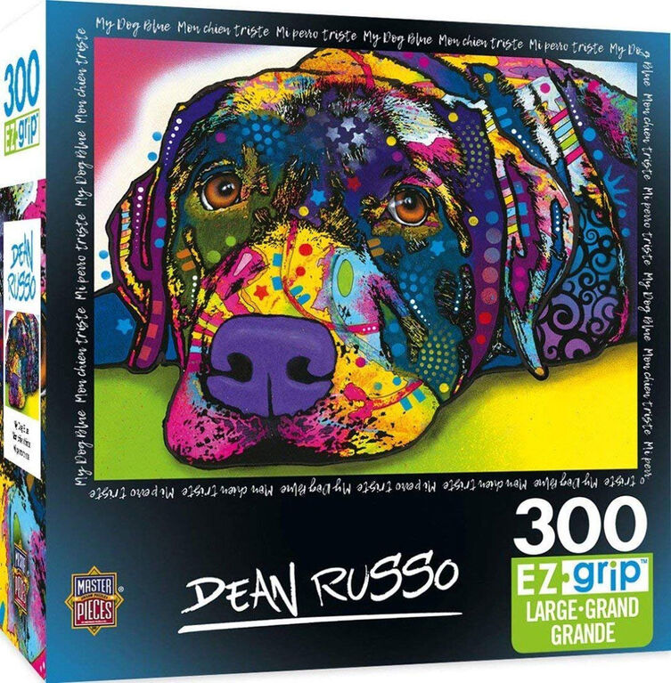 Masterpieces - EZ Grip - Dean Russo My Dog Blue Colorful Dog Jigsaw Puzzle 300  Piece