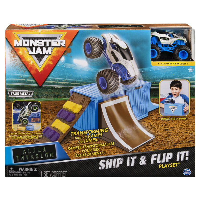 Monster Jam, Ship It & Flip It Transforming Playset with Exclusive 1:64 Scale Die-Cast Monster Jam Truck