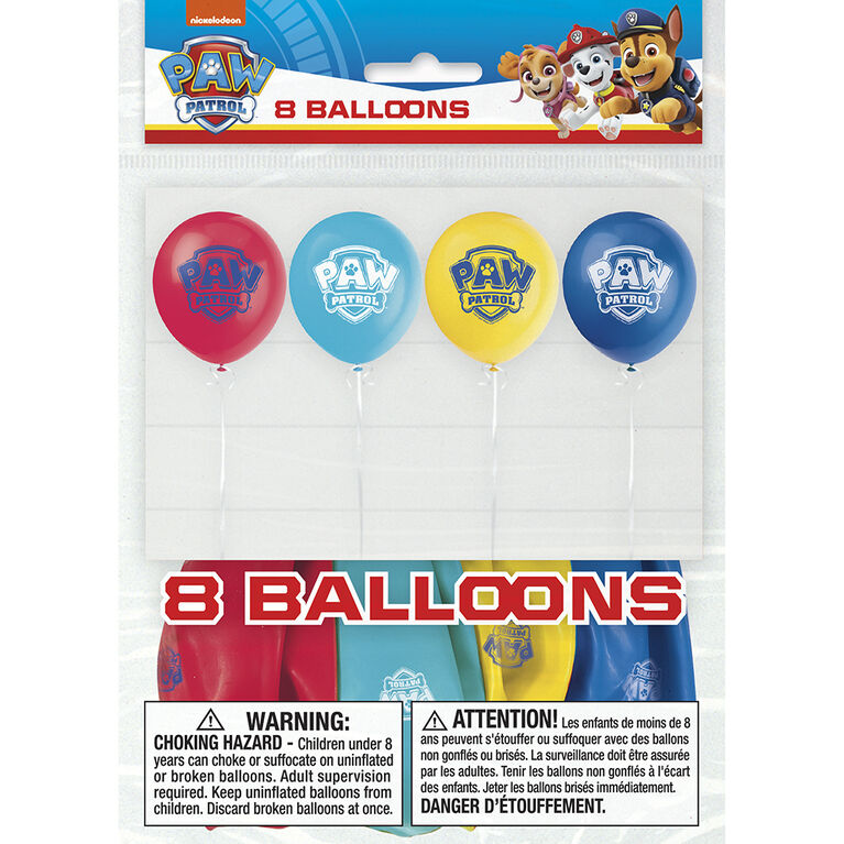 "Paw Patrol 12"" Latex Balloons, 8 pieces"
