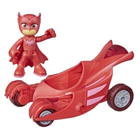 Pyjamasques, jouet préscolaire Astro-Hibou, voiture de Bibou avec figurine Bibou