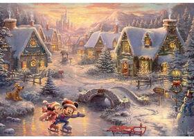 Ceaco - Thomas Kinkade Holiday Puzzle Mickey and Minnie Skate - 2000 Pieces