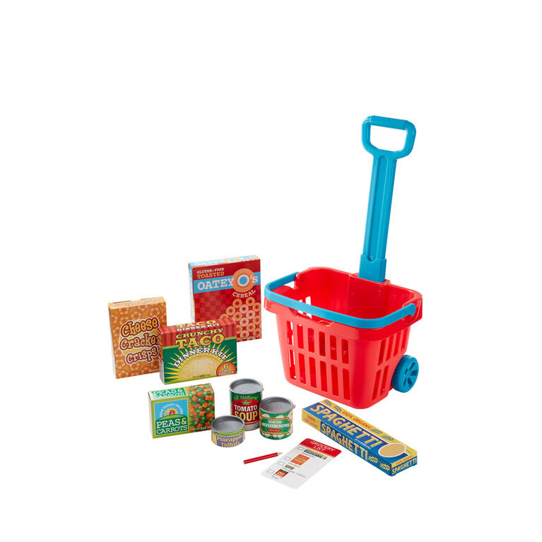 Melissa & Doug Fill and Roll Grocery Basket Play Set With Play Food Boxes and Cans - styles may vary