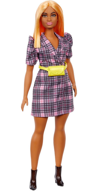 Barbie Fashionistas Doll #161, Curvy with Orange Hair Wearing Pink Plaid Dress, Black Boots & Yellow Fanny Pack
