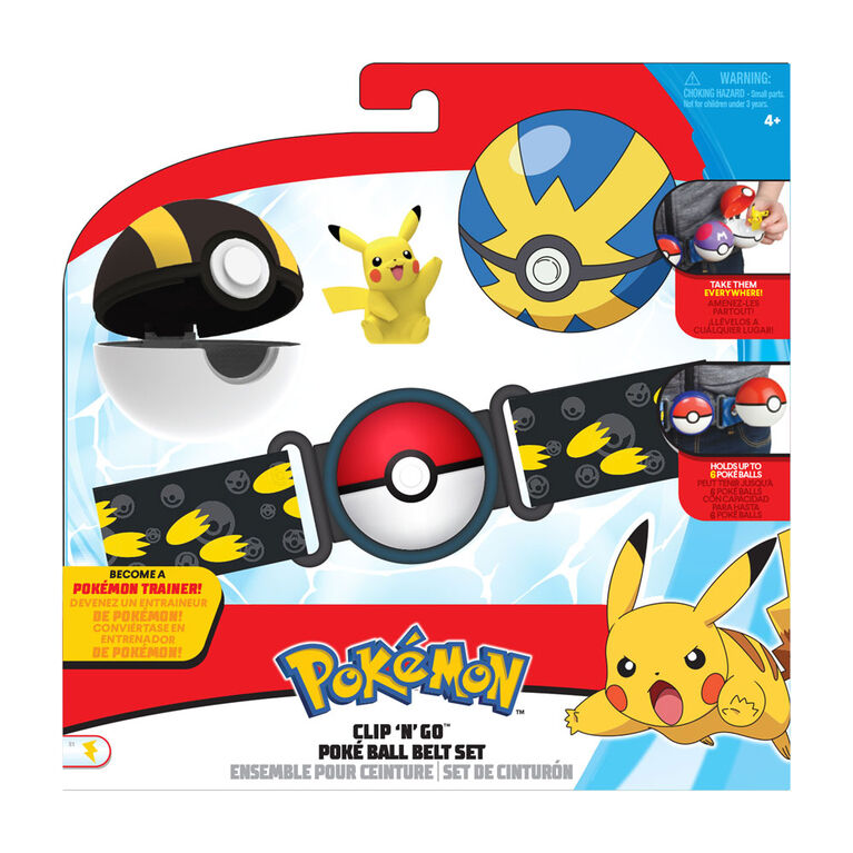 "Pokémon Clip 'N' Go Poké Ball Belt Set - Ultra Ball, Quick Ball, and 2"" Pikachu #6"