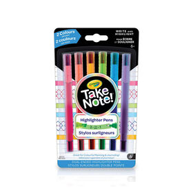 Crayola Take Note! Dual-Ended Pen Highlighters, 6 Count