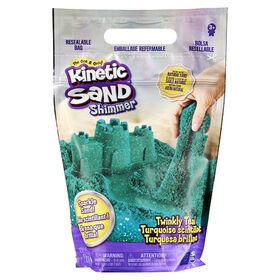 Kinetic Sand, Sachet de 907 g de sable scintillant Turquoise scintillant entièrement naturel à écraser, mélanger et sculpter