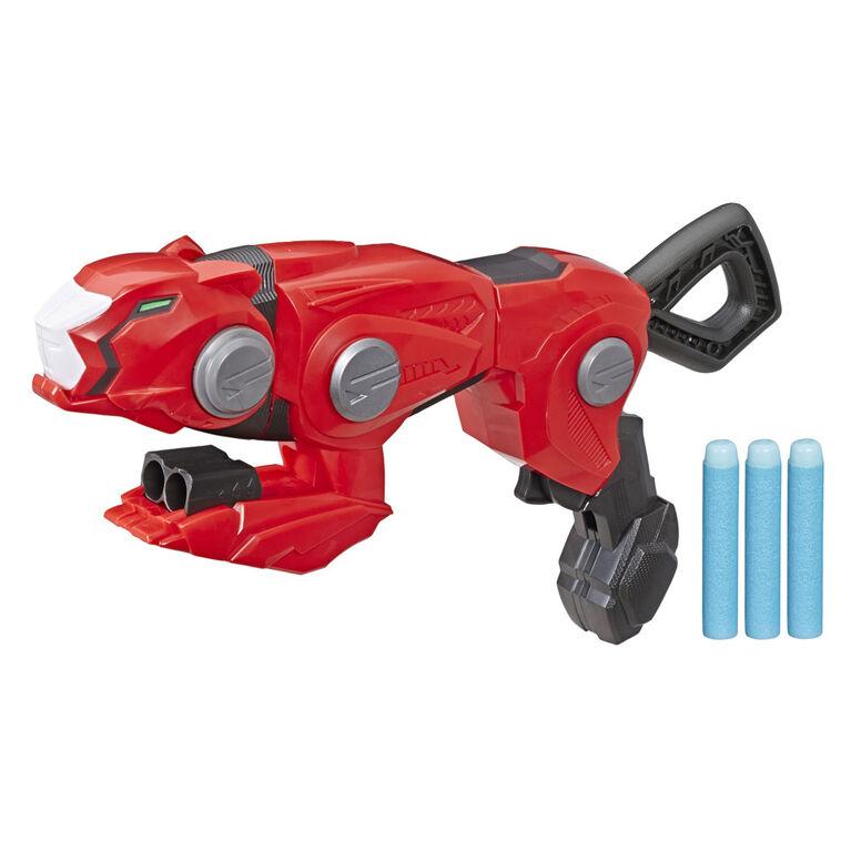 Power Rangers Beast Morphers - Cheetah Beast Blaster de la télésérie Power Rangers - Jeu de rôle Power Rangers Ranger rouge, inclut 3 fléchettes Nerf.