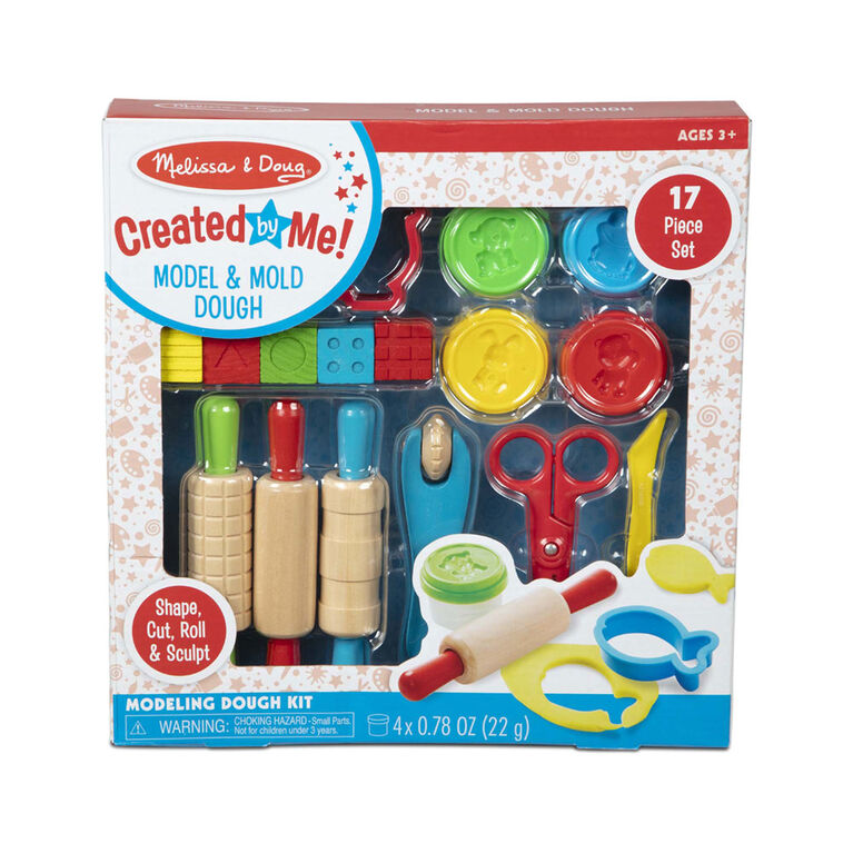 Melissa & Doug Created by Me! 17-Piece Model and Mold Modeling Dough Kit (4 Tubs Dough and Tools