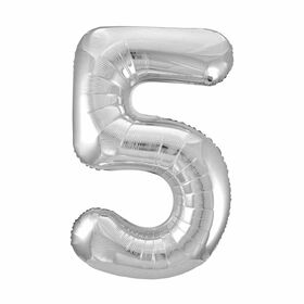 Silver Number 5 Shaped Foil Balloon 34""