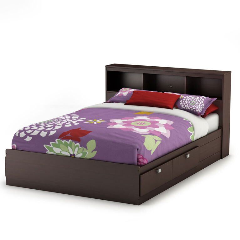 Spark Mate's Platform Storage Bed with 4 Drawers- Chocolate